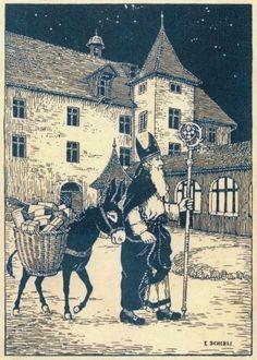 Carte de la Saint-Nicolas, 1931, Emmanuel Schibli, Fribourg Victorian Art, Victorian Christmas, Vintage Christmas Cards, Christmas Carol, Xmas, Saints For Kids, St Nicholas Day, Christmas In Europe, Weird Vintage