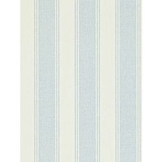 Buy Blue / Cream, 211974 Sanderson Addison Stripe Wallpaper from our Wallpaper range at John Lewis & Partners. Kids Room Wallpaper, Diy Wallpaper, Wallpaper Online, Striped Wallpaper Blue, Blue Cream, Blue And White, Cosy Bedroom, Striped Bedding, Victorian Homes