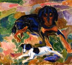 Large and Small Dog / Edvard Munch - 1911-1912