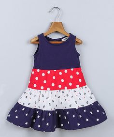 Navy & Red Star & Polka Print Dress - Infant, Toddler & Girls