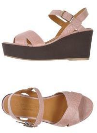 $62, Pink Leather Wedge Sandals: Diego Piacentini By Fiorina Sandals. Sold by yoox.com. Click for more info: https://lookastic.com/women/shop_items/152817/redirect