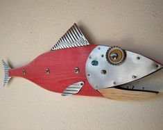 Fish Sculpture, Handmade, Steampunk fish, Fishing pole, Fishing lure, fishing reel, beach decor, fisherman gift, fish art, Tuna