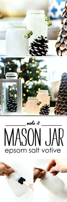 Epsom Salt Mason Jar Snow Votive - Mason Jar Crafts for Christmas - Epsom Salt Crafts