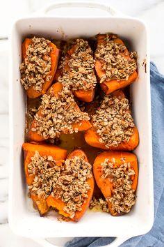 Baked Sweet Potatoes with Sunflower-Pecan Crumble | Vegan