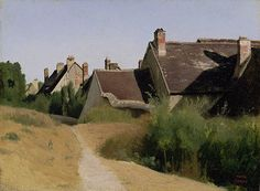 Houses near Orléans (Maisons aux Environs d'Orléans), Jean-Baptiste-Camille Corot. French, about 1830. Oil on paper mounted on millboard. 11 1/4 x 15 3/16 in.