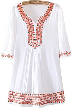 Shop White V Neck Short Sleeve Tribal Embroidered Loose Blouse online. SheIn offers White V Neck Short Sleeve Tribal Embroidered Loose Blouse & more to fit your fashionable needs. Kurta Designs, Blouse Designs, Blouse Ample, Sheer Blouse, Tshirt Garn, Boho Fashion, Fashion Dresses, Mode Boho, Dressy Tops