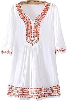 White V Neck Short Sleeve Tribal Embroidered Loose Blouse US$32.67