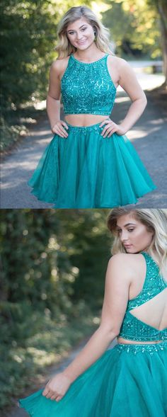 Sparkly two piece teal short prom dress homecoming dress with open back. Teal Homecoming Dresses, Two Piece Homecoming Dress, Dress Prom, Dresses For Teens, Trendy Dresses, Fashion Dresses, School Dresses, Fashion 2018, Ball Dresses