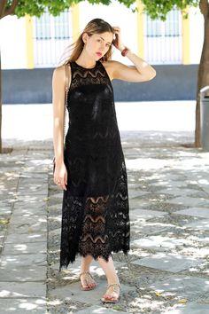 Black lace midi