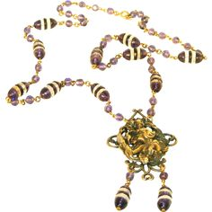 "Art Nouveau Woman Amethyst Glass & Brass c.1910 Antique Necklace.  ON SALE NOW at ""Vintage Jewelry Stars"" shop at http://www.rubylane.com/shop/vintagejewelrystars !!"