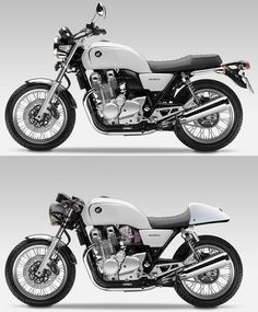 Modern/Retro Honda CB 1100 design with a Cafe' version on bottom. Possibly just a concept photo, but if it is they've now built the top one, but not in white. Cafe Racer Honda, Cb 750 Cafe Racer, Modern Cafe Racer, Cafe Racer Bikes, Cafe Bike, Concept Motorcycles, Honda Motorcycles, Vintage Motorcycles, Chopper