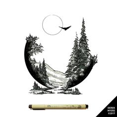 Recent commission. Have a great weekend everyone! ▪️ ▪️ ▪️ #drawing #dailydrawings #illustration #ink #inkdrawing #landscape #geometry… Landscape Tattoo, Ink Illustrations, Nature Illustration, Black Felt, Circle Art, Aesthetic Drawing, Pen Art, Nature Tattoos, Pyrography