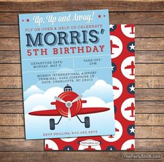 Printable Airplane Invitation | Vintage Boys Birthday Party Invite | Blue Red | See our Shop for Matching Plane Themed Party Decorations