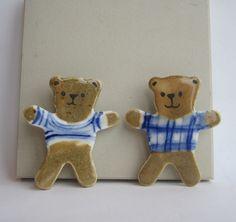 Teddy Bear handpainted porcelain brooch by houseofharriet on Etsy. $25.00, via Etsy.