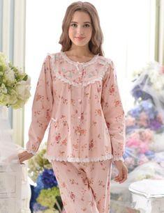 Pink Floral Pajamas Womens Lace Embellished 2017 New Fashion Cotton Ladies Sleepwear Female Pajama Set (Top + Pants) Dresses Kids Girl, Party Dresses For Women, Casual Dresses For Women, Cute Pajamas, Pajamas Women, Night Suit For Women, Pajama Outfits, Kids Frocks, Kids Suits