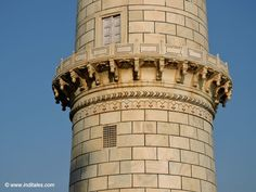 Detail of the Minar - a window, a door, a parapet and delicate carving - Taj Mahal, Agra