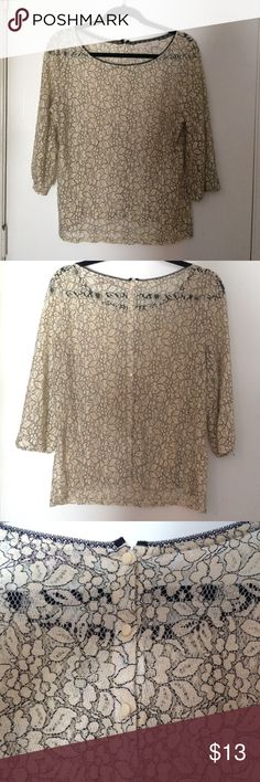 Beautiful Floral Sheer Shirt Off white flowers with black outlines/details on this beautiful sheer shirt! The back of the shirt has buttons that run the full length of it! Easily dressed up any pair of jeans! Minor signs of wear visible on sleeves. Price is firm unless bundled! LOFT Tops
