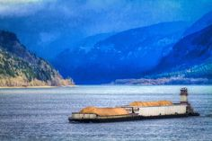 Columbia River Barge Grass Valley, Columbia River, Golf Courses, Boating, Cowboys, Pictures, Painting, Books, Art