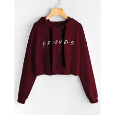 SheIn offers Friends Print Drop Shoulder Raw Hem Hoodie more to fit your fashionable needs. Cute Lazy Outfits, Crop Top Outfits, Stylish Outfits, Teen Fashion Outfits, Outfits For Teens, Girl Outfits, Stylish Hoodies, Cool Hoodies, Hoodie Outfit