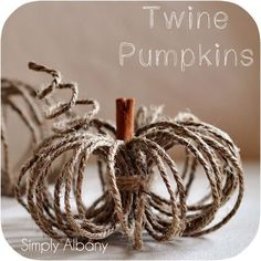 DIY Twine Pumpkins {fall crafts} This creative take on a pumpkin is the perfect addition to your Fall decor! Easy to make using a ball of twine and a cinnamon… Thanksgiving Crafts, Holiday Crafts, Thanksgiving In New York, Spring Crafts, Fall Crafts For Adults, Decor Scandinavian, Fall Projects, Diy Projects, Pumpkin Crafts