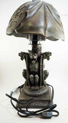 Large Gothic Four Gargoyles Night Table Lamp with Shade Statue Resin Figurine | eBay