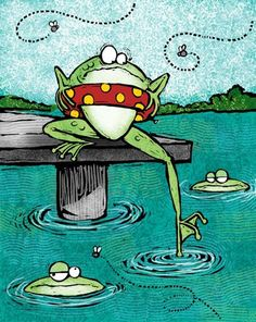 Morris - Scared Frog with Other Frogs in Pond - Funny Frogs, Cute Frogs, Animal Drawings, Cute Drawings, Frosch Illustration, Frog Pictures, Frog Art, Frog And Toad, Whimsical Art