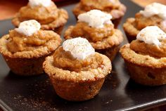Bite-sized pumpkin goodness with a textured crust and creamy pumpkin filling. Paleo & gluten free. Perfect for parties or when you just want a little taste of pumpkin pie. Easy recipe!