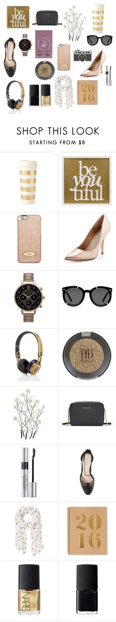 """""""Black and Gold"""" by oh-buttons on Polyvore featuring beauty, Kate Spade, MICHAEL Michael Kors, Charles David, Olivia Burton, Karen Walker, Topshop, Universal Lighting and Decor, Michael Kors and Christian Dior"""
