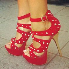 Red Heals with little spikes