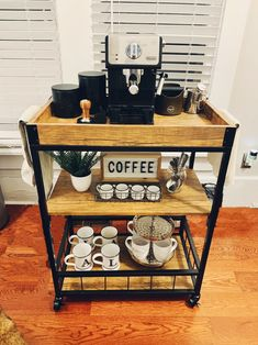 Super cute, simple, and easy Coffee Station setup on a budget! Coffee Nook, Coffee Bar Home, Coffee Carts, Coffee Corner, Kitchen Nook, Kitchen Decor, Coffee Bar Station, Coffee Bar Design, Easy Coffee