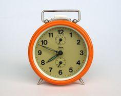 Orange Alarm Clock by Insa / 60's Yugoslavia by TheCuriousCaseShop