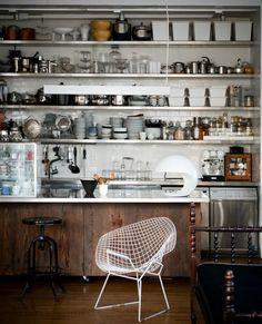 """gravity-gravity: """"Industrial kitchen in New York loft """" Kitchen Ikea, Kitchen Shelves, Kitchen Decor, Open Kitchen, Loft Kitchen, Kitchen Storage, Kitchen Cabinets, Kitchen Organisation, Eclectic Kitchen"""
