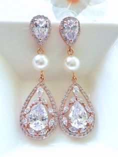 Bridal Earrings Large ROSE Gold Plated Fancy by JCBridalJewelry