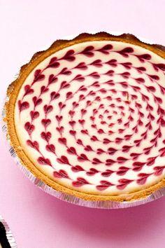 Sweet Treats & More || White Chocolate Raspberry Heart Swirled Cheesecake by Cooking Classy