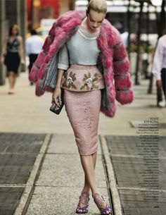 Try pairing a hot pink fur coat with a pink lace pencil skirt to achieve a neat and proper look. Finish off your look with violet suede heeled sandals.  Shop this look for $320:  http://lookastic.com/women/looks/fur-coat-crew-neck-sweater-clutch-pencil-skirt-heeled-sandals/5506  — Hot Pink Fur Coat  — Grey Embellished Crew-neck Sweater  — Black Embroidered Canvas Clutch  — Pink Lace Pencil Skirt  — Violet Suede Heeled Sandals