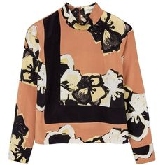 By Malene Birger Muuse Printed High Neck Top (1.122.925 COP) ❤ liked on Polyvore featuring tops, tan, high neck long sleeve top, floral print top, flower print top, long sleeve tops and tan top