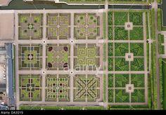 VILLANDRY GARDEN (vertical aerial view). Indre-et-Loire, Loire Valley, Centre, France. Stock Photo