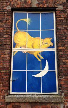'The cow jumped over the moon' - Painted window on Purfleet Quay, King's Lynn, Norfolk, UK #StreetArt