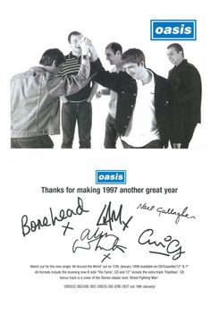 to Oasis' fan club Christmas card. Great Bands, Cool Bands, Liam Oasis, Liam Gallagher Noel Gallagher, Oasis Band, Liam And Noel, Band Posters, Music Posters, Britpop