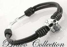4B-153 Hallmark 925 Sterling Silver Bead & Clasp New SKULL Men Leather Bracelet
