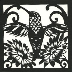 hummingbird and flowers by william schaff (paper cut), via Flickr