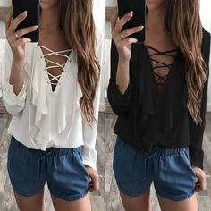 49cc2557173 $21.8 - Cool 2018 Fashion Spring Autumn Women Chiffon Blouse Sexy Lace Up V  Neck Ruffles Long Sleeve Black White Tops Casual Plus Size Shirt - Buy it  Now!