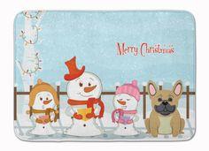 Merry Christmas Carolers French Bulldog Cream Machine Washable Memory Foam Mat BB2341RUG