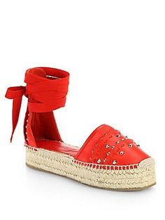 Alexander McQueen Studded Leather Ankle-Tie Espadrille Sandals -