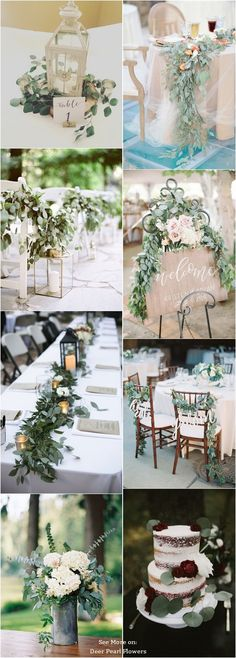 Eucalyptus ideas for a green wedding . Handmade Wedding, Diy Wedding, Rustic Wedding, Dream Wedding, Wedding Ideas, Wedding Table, Wedding Reception Decorations, Wedding Themes, Wedding Colors