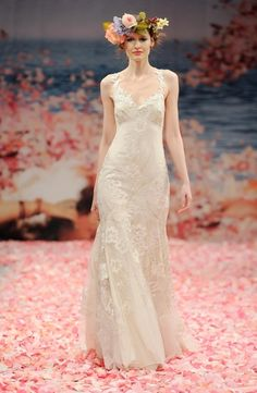 Bridal Gowns: Claire Pettibone A-Line Wedding Dress with V-Neck Neckline and Empire Waist Waistline