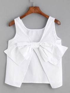 Shop White Bow Embellished Open Back Tank Top online. Baby Girl Dress Patterns, Little Girl Dresses, Girls Dresses, Trendy Outfits, Girl Outfits, Fashion Outfits, Kids Frocks, Mode Inspiration, Kind Mode