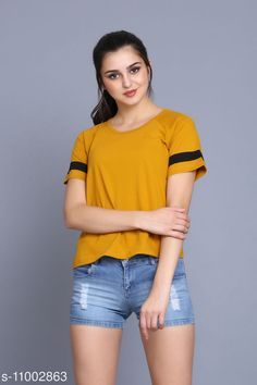 Checkout this latest Tshirts Product Name: *stylish half stripe roundneck t-shirt/top for women* Fabric: Cotton Sleeve Length: Short Sleeves Pattern: Printed Multipack: 1 Sizes: S, M, L, XL Country of Origin: India Easy Returns Available In Case Of Any Issue   Catalog Rating: ★3.9 (221)  Catalog Name: Urbane Fashionable Women Tshirts CatalogID_2039965 C79-SC1021 Code: 082-11002863-816