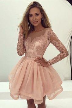 Short Length Lace Long Sleeves Skin Pink Homecoming Dress