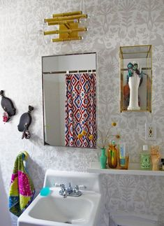 happy bathroom with Otomi (Pewter) removable wallpaper tiles